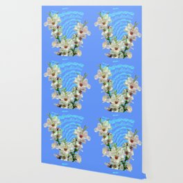 notes of works of bach on the background of flowers Wallpaper