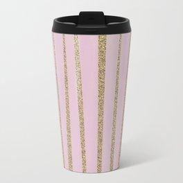 Soft Pink and Gold faux Glitter Stripes Travel Mug