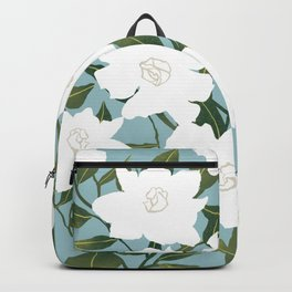 White floral pattern on blue Backpack