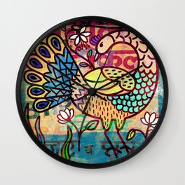 Peacock print, naive art bird illustration Wall Clock
