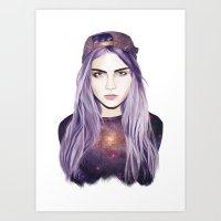 cara delevingne Art Prints featuring Cara Delevingne by Alana Mays Creative