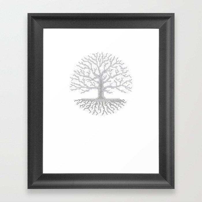 Pixel Art - Cross Stitch Chart - Grey Tree of Life - Framed Art ...