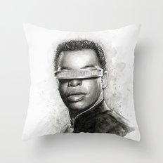 Geordi La Forge Star Trek Art Throw Pillow