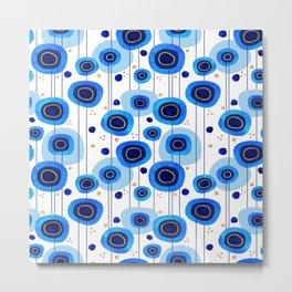 Floral Blues Pattern Metal Print