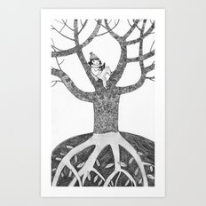 Winter reading Art Print