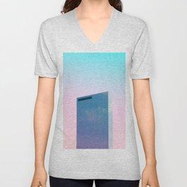 Full Crystal building with Pastel sky Unisex V-Neck
