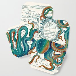 Teal Octopus Vintage Map Watercolor Coaster