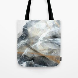 Gold black white marble look abstract painting Tote Bag