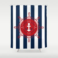 nautical Shower Curtains featuring Nautical by Katherine GM
