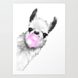 Bubble Gum Sneaky Llama Black and White Art Print