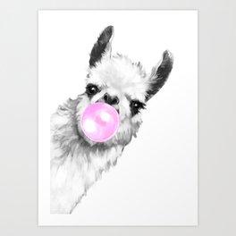 Bubble Gum Sneaky Llama Black and White Art Print