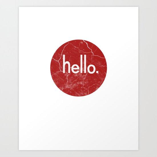 Hello - Red Art Print