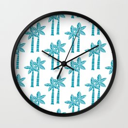 Palm Tree Pattern Turquoise 3 Wall Clock
