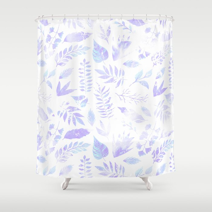 Hand Painted Pastel Lavender Violet Teal Watercolor Floral Shower Curtain