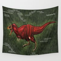 muscle Wall Tapestries featuring Tyrannosaurus Rex Muscle Reconstruction by Rushelle Kucala Art