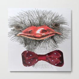 Ostrich with red bowtie Metal Print