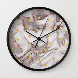 Red stone marble like design pattern with small gold diamond squares Wall Clock