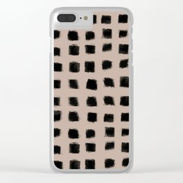 Polka Strokes - Black on Nude Clear iPhone Case