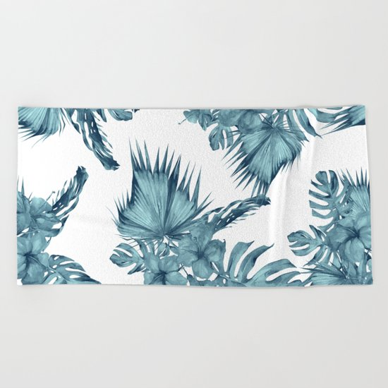 Tropical Palm Leaves Hibiscus Flowers Blue Beach Towel