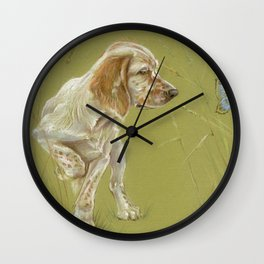 The First Spring Butterfly English Setter Puppy Pastel Drawing on green background Wall Clock