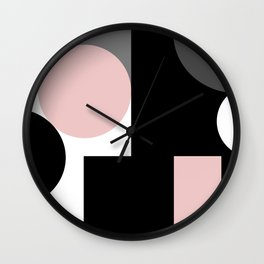 An abstract geometric pattern . Geometric shapes . Black pink white pattern . Wall Clock