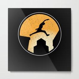 Parkour Skyline Ninja Jumper Freestlye Freerunner Metal Print