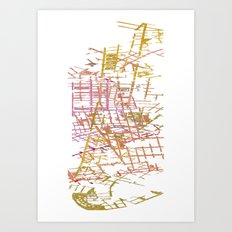NYC Map lines Art Print
