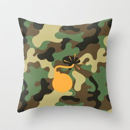 CAMO & ORANGE BOMB DIGGITY Throw Pillow