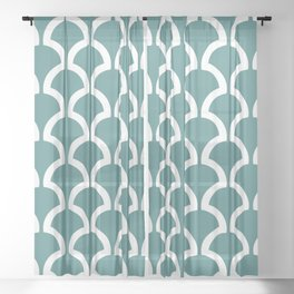 Classic Fan or Scallop Pattern 473 Teal Green Sheer Curtain