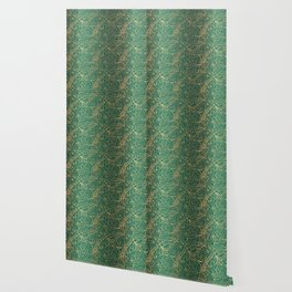 Gold and Green Tangle Pattern Wallpaper