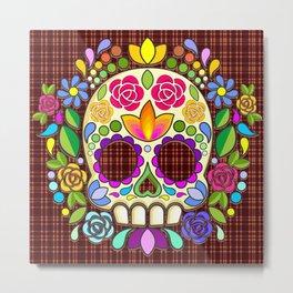 Sugar Skull Floral Naif Art Mexican Calaveras Metal Print