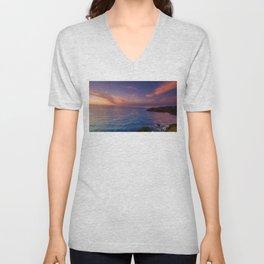 jacks bay sunset colorful panorama scene Unisex V-Neck