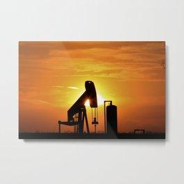 Kansas Blazing orange Sunset with an Oilwell Pump silhouette. Metal Print