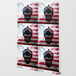 M1911 Colt 45 and American Flag on Distressed Metal Wallpaper
