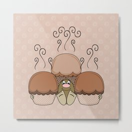 Cute Monster With Orange Frosted Cupcakes Metal Print