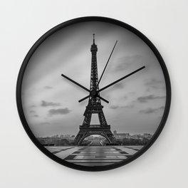 Eiffel Tower at Sunrise   Monochrome Wall Clock
