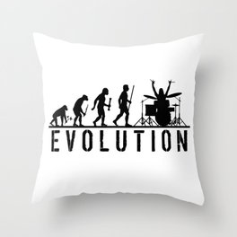The Evolution Of Man And Drums Throw Pillow