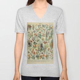 Adolphe Millot Vintage Fleurs Flower 1909 Unisex V-Neck