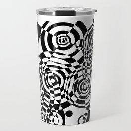 Raindrops 2 Black and White Geometric Painting Travel Mug