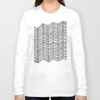 herringbone Long Sleeve T-shirts featuring Herringbone – Black & White by Cat Coquillette