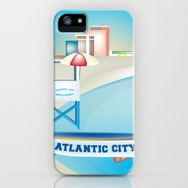 Atlantic City, New Jersey - Skyline Illustration by Loose Petals iPhone Case