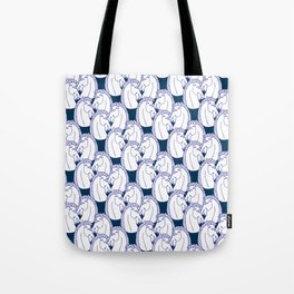 Deco Horses on Navy Tote Bag