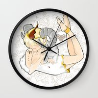 aries Wall Clocks featuring Aries by Mhel