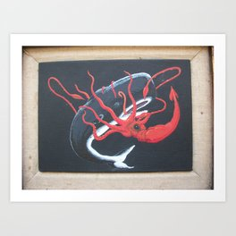 Sperm Whale versus Giant Squid Art Print
