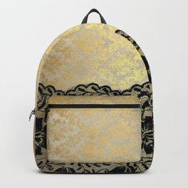 Black floral luxury lace on gold damask pattern Backpack