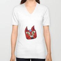 diablo V-neck T-shirts featuring Gato Diablo by Scribblebro
