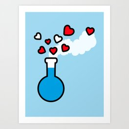 Blue and Red Laboratory Flask Art Print