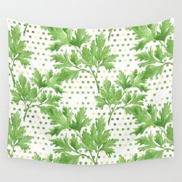 Parsley on Green Yellow Dots Wall Tapestry