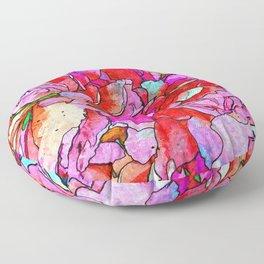 Shabby-chic Rainbow Roses Flower Bouquet Floor Pillow