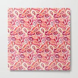 Coral pink paisley pattern Metal Print